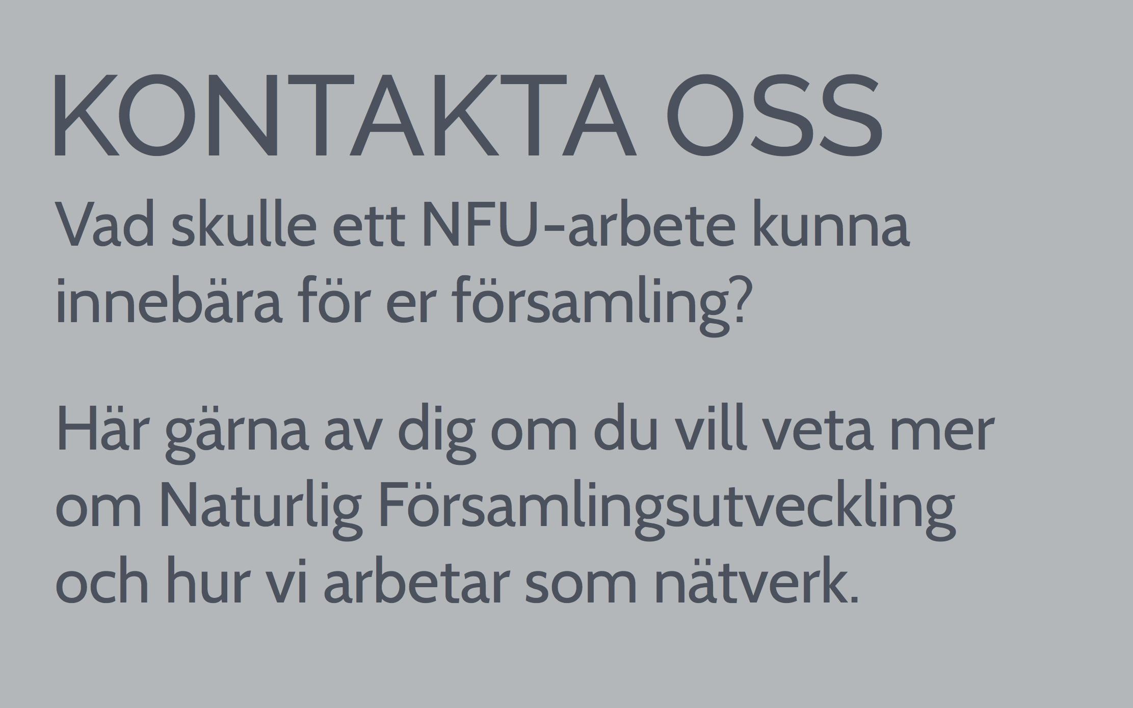 NFU Handledare Naturlig Församlingsutveckling Nätverket för församlingsutveckling
